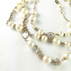"""WHBM 3 strand chain, """"pearls,"""" crystal necklace"""